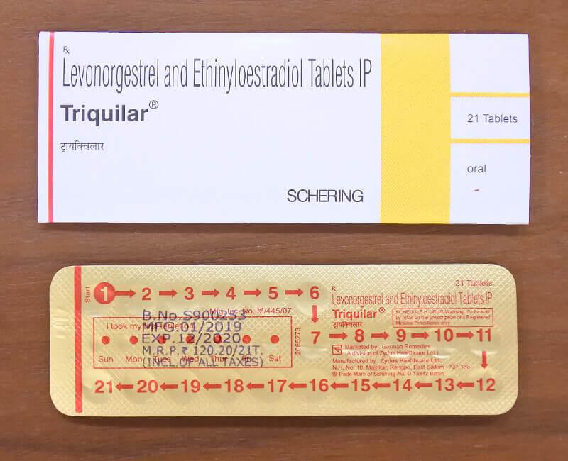 トリキュラーのパッケージとシート裏面の画像